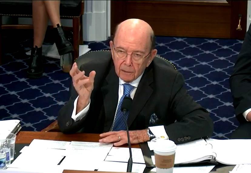 Secretary of Commerce Wilbur Ross testifying at House hearing